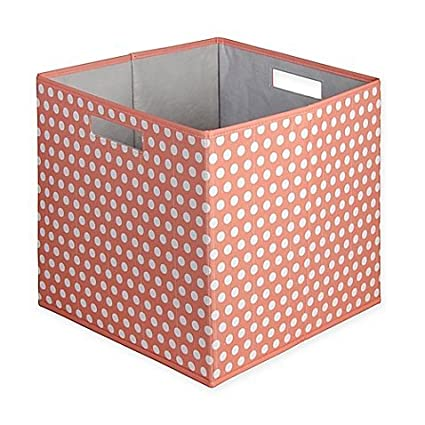 Beau Dotted Fabric Full Storage Bin In Coral