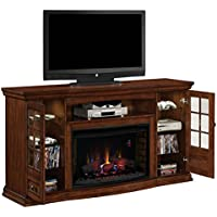 ClassicFlame 32MM4486-P239 Seagate TV Stand for TVs up to 80, Pecan (Electric Fireplace Insert sold separately)