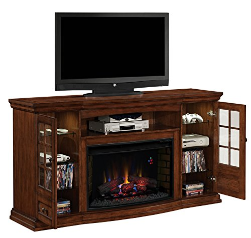 ClassicFlame 32MM4486-P239 Seagate TV Stand for TVs up to 80″, Pecan (Electric Fireplace Insert sold separately)