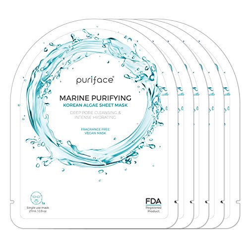 Sheet Mask [Puriface][Marine Purifying] Vegan FDA Registered Facial Skin Care Hydrating Masque [Cleansing/Paraben Free/Pore Minimizing] - 5 ()