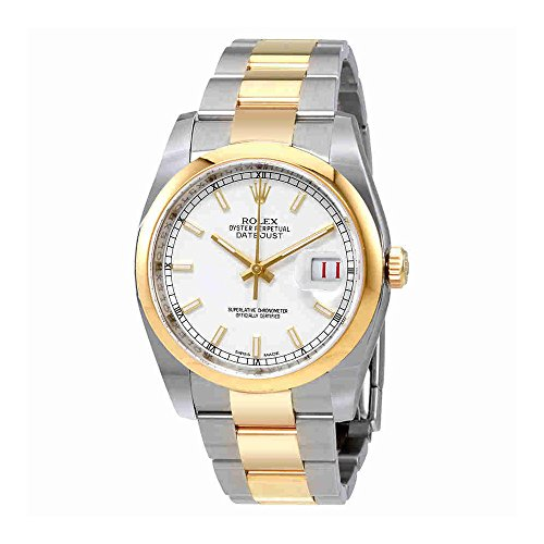Rolex Datejust 36 White Dial Stainless Steel and 18K Yellow Gold Rolex Oyster Automatic Mens Watch 116203WSO