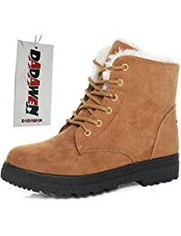 DADAWEN Unisex Women's Men's Classic Retro Lace-up Middle Ankle Snow Boots