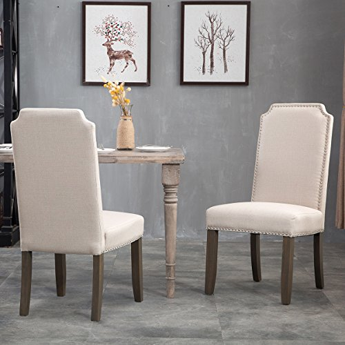 Merax Set of 2 Stylish Upholstered Fabric Dining Chairs with Nailhead Detail and Solid Wood Legs (Beige) by Merax