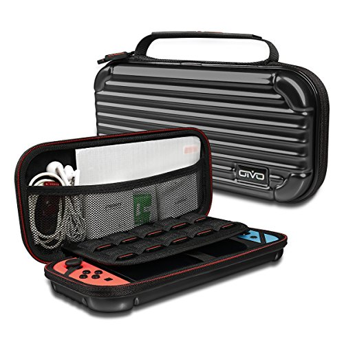 Oivo Carrying Case for Nintendo Switch, Deluxe Protective Travel Carry Case with Soft Velours Pouch for Nintendo Switch Console & Accessories (IV-SW066) (Black) (Carry Case Protective Pouch)