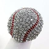 Baseball Sports Ring Red Enamel Clear Rhinestones