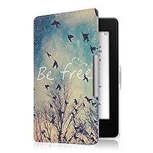kwmobile Funda para Amazon Kindle Paperwhite - eReader Case de cuero sintético - Con tapa E-book reader Flip style Diseño Be free negro azul blanco