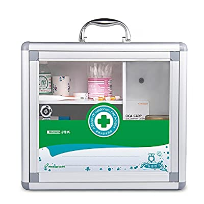 Glosen Wall Mounted and Portable Type 3 Layers Metal Storage Container with Child Safety Lock Household Medicine Cabinet Green
