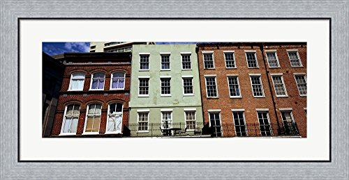 Low angle view of buildings, Riverwalk Area, New Orleans, Louisiana, USA by Panoramic Images Framed Art Print Wall Picture, Flat Silver Frame, 35 x 17 - Riverwalk Louisiana