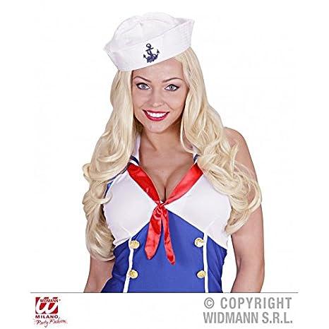 Cappello da Marinaio Bianco con Ancora Ricamata Blu  Amazon.it  Giochi e  giocattoli f12ca628fd32