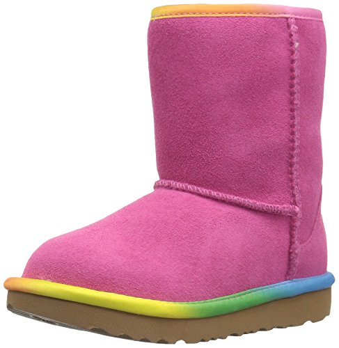 UGG Girls T Classic Short II Rainbow Pull-on Boot, Pink Azalea, 10 M US Toddler by UGG