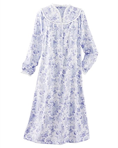 National Dainty Floral Flannel Gown, Lilac, 2X ()