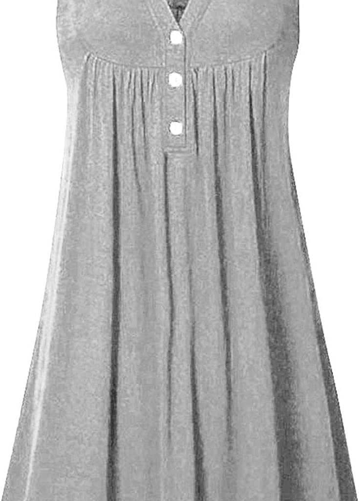 Dresses for Women Solid Color Midi Dress Casual Sleeveless Cocktail Party Plus Size Button Sundress Gray