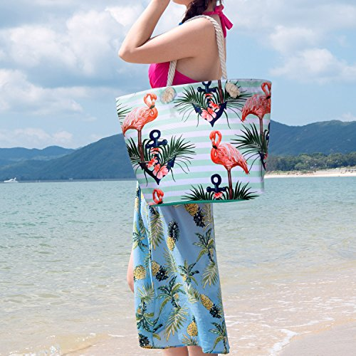 Mujer Recorrido Bolso de Cremallera del Mano 15 Bolsa Totalizadores de de Bolsa Shopper Playa Grande Czemo con qFfTBTw