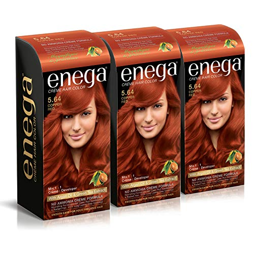 Enega Cream hair color (120 ml/each) superior quality with Argan Oil & Green Tea extract NO AMMONIA Cream FORMULA smooth care for your precious hair! COPPER RED 5.64 (Pack of 3)