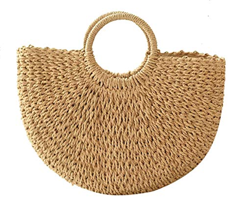 (Summer Beach Bag,Straw Bag,Large Hobo Bag for Women,Ound Handle Ring Toto Bag)