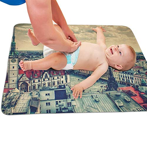 V5DGFJH.B Baby Portable Diaper Changing Pad Prague Square Urinary Pad Baby Changing Mat 31.5