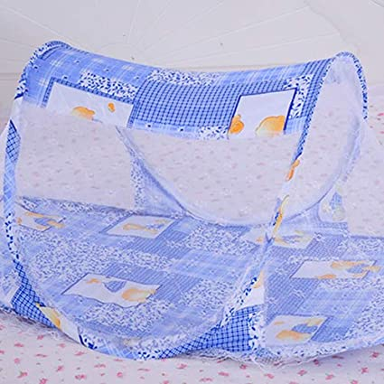 Baost Portable Baby Travel Bed Crib Floral Print Boat Shape Folding Mosquito Twill Net Pop-up Bed Crib Baby Infant Cradle Anti-Bug Tent Mosquito Net Foldable Mesh Screen Tent Blue