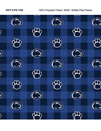 Penn State Fleece Blanket Fabric-Penn State Nittany Lions Fleece Fabric with Buffalo Plaid Design ()