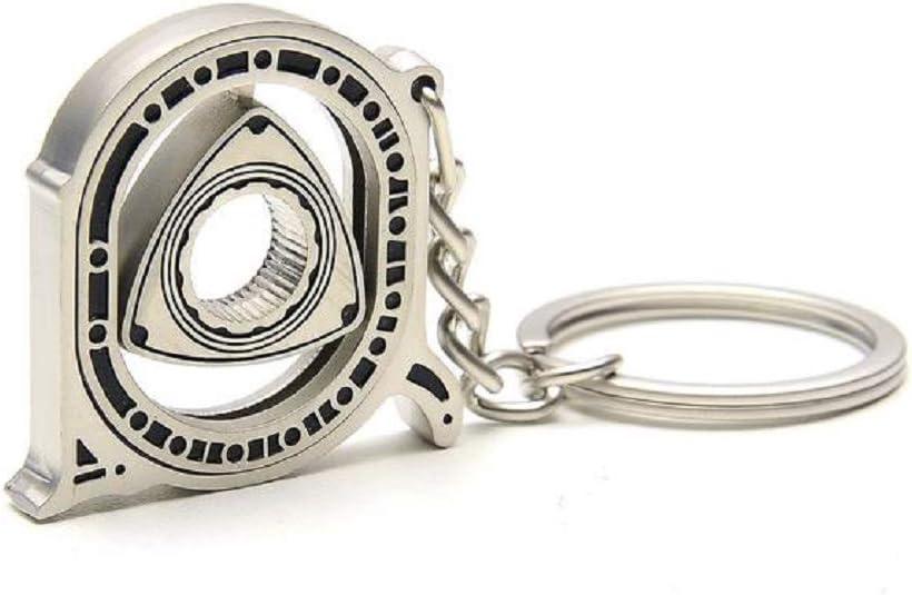 Gunmetal Rotary Mazda RX7 RX8 Keychain Automotive Part Car Gift Key Chain Ring