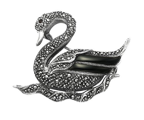 Wild Things Sterling Silver Floating Swan Pin w/Marcasite Stones & Simulated Black Onyx Inlay