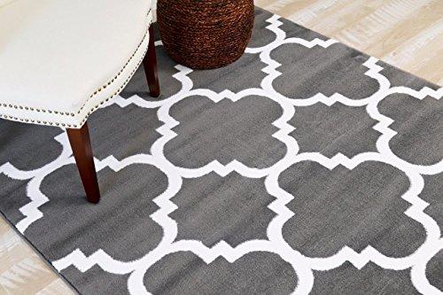 4518 Charcoal Moroccan Trellis 5'2x7'2 Area Rug Carpet Large New