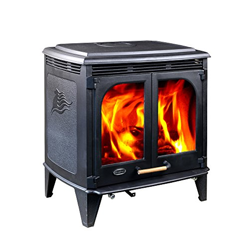 Hiflame 85,000BTU/h Extra Large Wood Burning Stove HF577DU, Matte Black