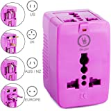 Yubi Power Dual Outlet Travel Adapter with 2 Universal Outlets - Built In Surge Protector and Neon Light Indicator - Foldable Prongs for Type A, C, G, and I Outlets   Works In 150+ Countries