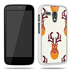 Christmas Reindeer Pattern Cool Retro Quirky Phone Case Shell for Motorola Moto G - White