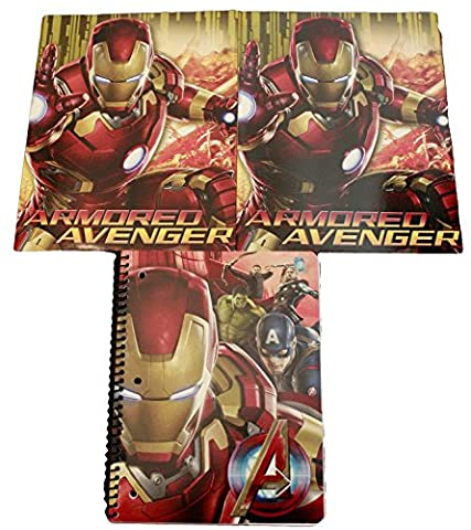 Avengers Age of Ultron Back to School Classroom Supply Bundle for Elementary through College Students: Includes 1 Spiral Notebook & 2 Pocket Folders (Red Iron (Starting Montessori School)