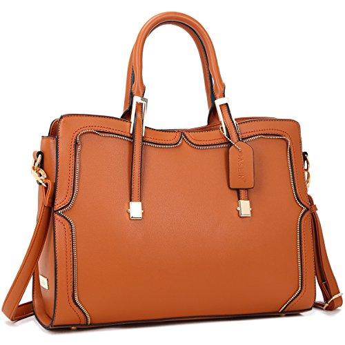 - Womens Handbag Faux Leather Medium Zipper Accents Handle Satchel Shoulder Bag (Brown)
