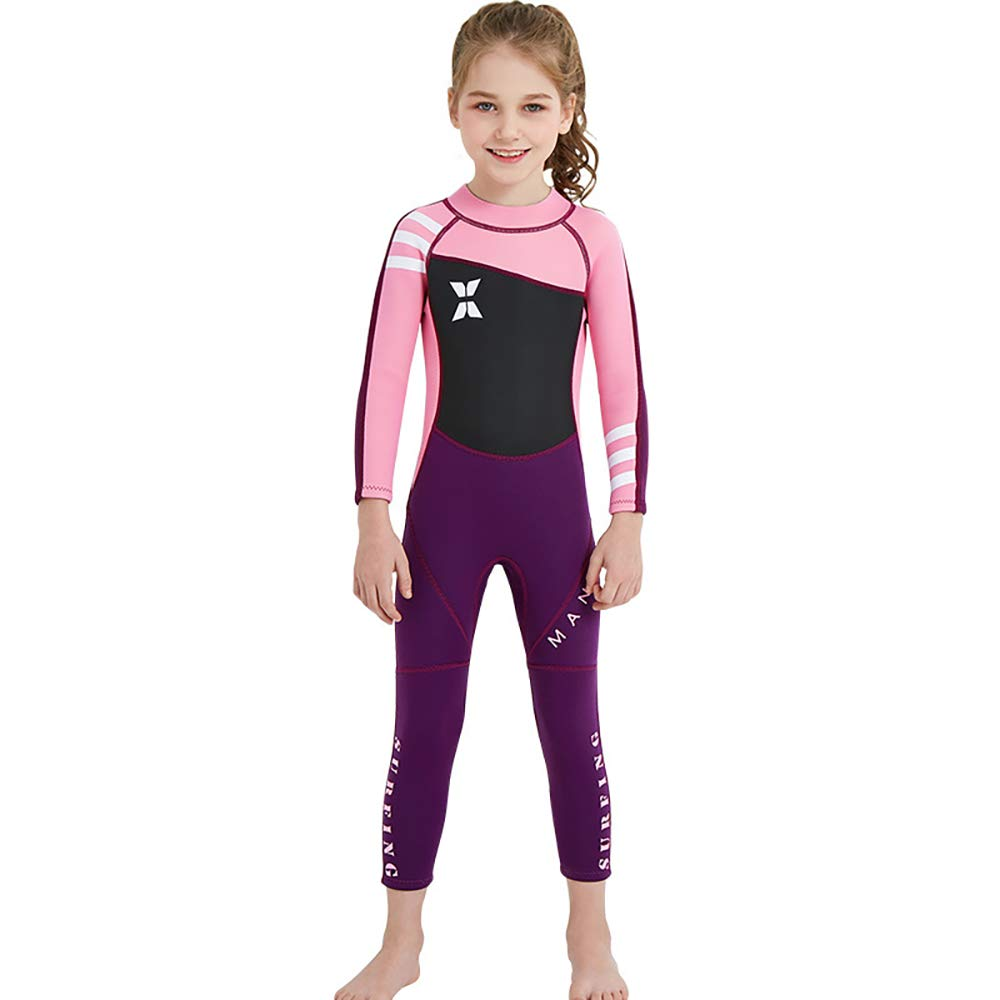 YAMTHR Kids Wetsuit 2.5mm Premium Neoprene Shorty Full Swimsuit One Piece UV Protection for Toddler Baby Children and Girls Boys (Girl's Fullsuit Suit 2.5 mm/Pink, Kids M Size) by YAMTHR