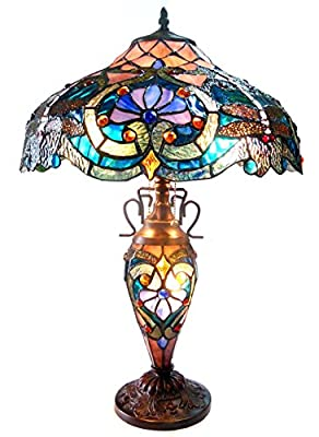 Chloe Lighting CH1B715BD17-DT3 Tiffany LYDIA, Tiffany-style Victorian 3 Light Double Lit Table Lamp 17-Inch Shade, Multi-colored