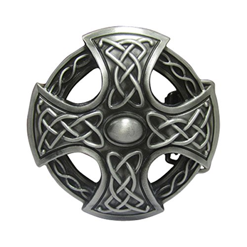Belt Buckles Clothing Accessories (E-Clover Men's Western Cross Celtic Knot Round Country Belt Buckles)