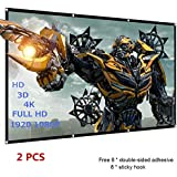 120 inch Projector Screen, 16:9 HD, Foldable Anti-Crease Portable Projector Movies Screen - Full Down Rear & Front Support Double Sided Projection for Home Theater Outdoor Indoor, 1.1lbs (2 PCS)