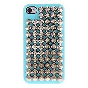 Silver Pointed Rivets Covered Hard Case with Glue for iPhone 4/4S (Assorted Colors) --- COLOR:Purple