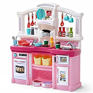 Step2 Fun with Friends Kitchen | Large Plastic Play Kitchen with Realistic Lights & Sounds | Pink Kids Kitchen Playset…