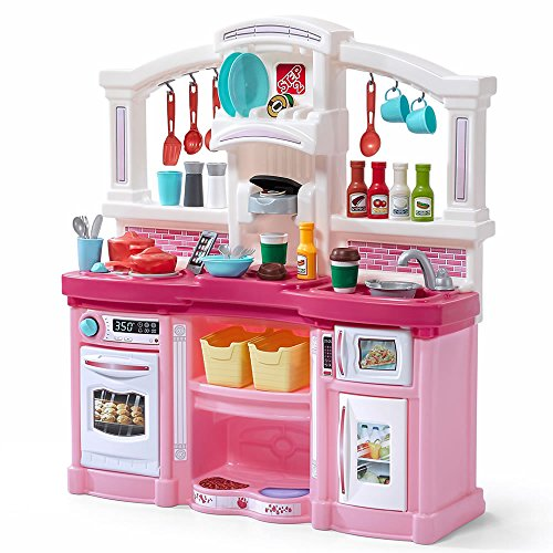 Step2 Fun with Friends Kitchen | Large Pink Play Kitchen with 45-Pc Accessory Set (Best Childrens Play Kitchen)