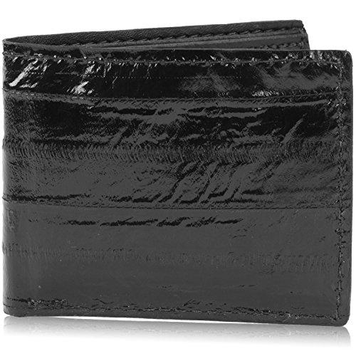 (Genuine Pacific Eel Skin Leather Bifold Wallet Handmade (6 Card Slots, Black))