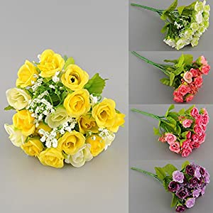 KICODE TOPmountain 21 Heads New Beautiful Elegant Artificial Mini Rose Bud Fake Silk Flower Arrangement Wedding Party Home Garden Decor 10