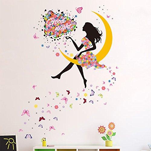 SWORNA Nature Serie Moon Butterfly Flower Girl Vinyl Removable DIY Kids Children Girls Home Wall Art Window Sticker Decor Decal - Bedroom Living Room Kindergarten Playroom Hallway School 55