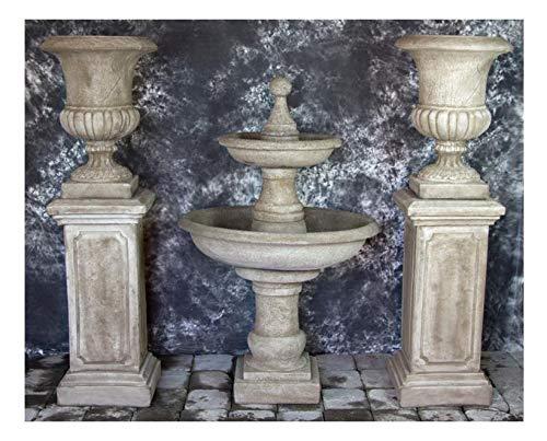 Fleur de Lis Garden Ornaments LLC Ravello 2 Tier Fountain w/Pompeii PEDESTALS & Italian Palazzo URNS Package #1029 ()