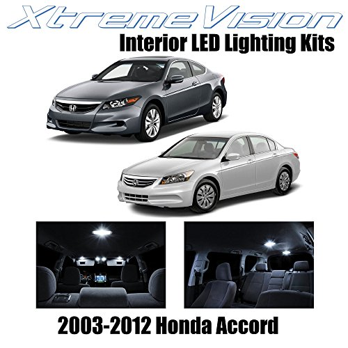 XtremeVision Honda Accord 2003-2012 (12 Pieces) Pure White Premium Interior LED Kit Package + Installation Tool