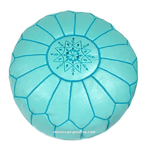 moroccan poufs leather luxury ottomans footstools blue duck unstuffed