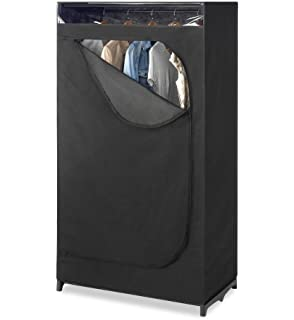 Whitmor Portable Wardrobe Clothes Closet Storage Organizer With Hanging  Rack   Black Color   No