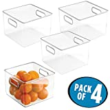 """mDesign Kitchen Pantry and Cabinet Storage and Organization Bin - Pack of 4, 8"""" x 8"""" x 6"""", Clear"""
