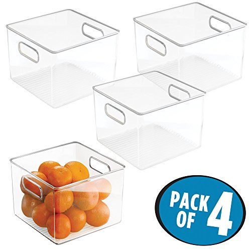 "mDesign Kitchen Pantry and Cabinet Storage and Organization Bin - Pack of 4, 8"" x 8"" x 6"", Clear"