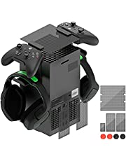 Dust Filter for Xbox Series X with Controller & Headphone Holder Stand, Top Case Dust Proof Cover Set with 2 Headset Mount Stand Holder for Xbox Series X Console