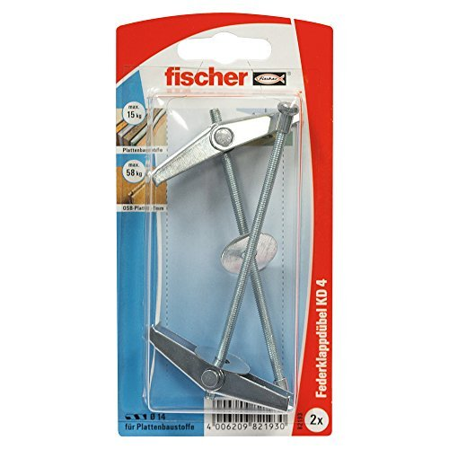 Fischer 82193 KD 4 K Metal Spring Toggles with Threaded Rods - Multi-Colour (2-Piece) by ()