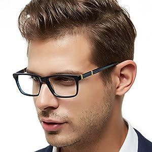 OCCI CHIARI Mens Rectangle Stylish Eyewear Frame Metal Decoration Clear Lens Glasses(Dark Blue,54)