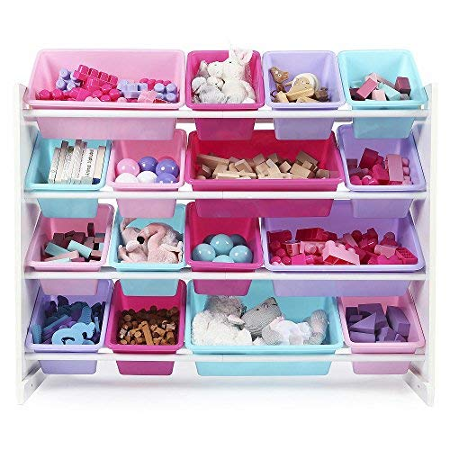Tot Tutors WO574 Forever Collection Wood Toy Storage Organizer, X-Large, White/Pink&Purple, Blue/Pink/Purple